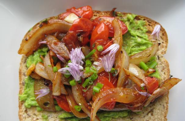 Image of Avocado Toast With Caramelized Sweet Onion And Grape Tomatoes With Fresh Garden Chives And Chive Blossoms., Foodista