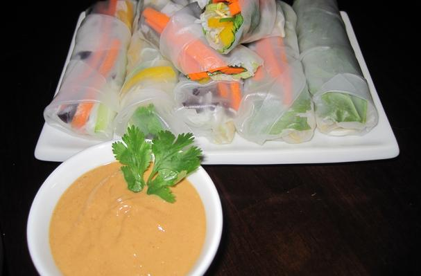 Image of Asian Spring Wraps With Spicy Peanut Sauce, Foodista