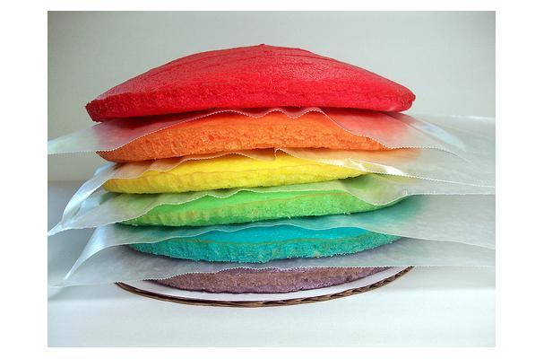 Image of Almond Rainbow Cake, Foodista