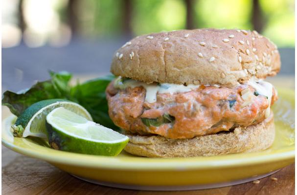 Image of Asian Salmon Burgers With Tangy Ginger Lime Sauce, Foodista
