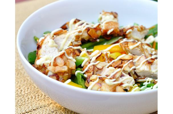 Image of Almond-crusted Chicken Salad With Honey Mustard Dressing, Foodista