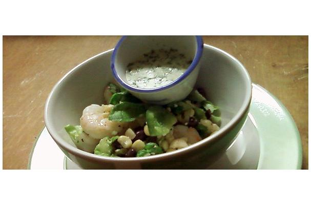 Image of A Healthy Mexican Salad With Crosnes Served With Cilantro-yogurt Dressing, Foodista