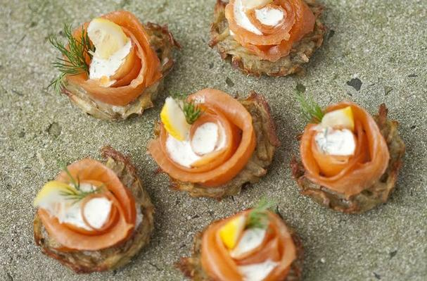 Mini Latkes with Smoked Salmon and Dill