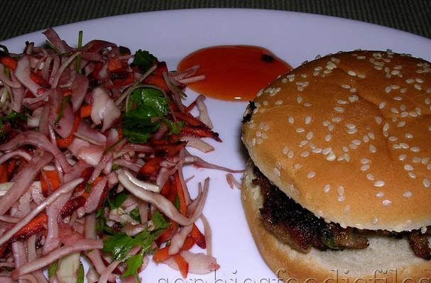 Image of Asian Inspired Burger, Served With An Asian Coleslaw & Sweet Chili Sauce, Foodista