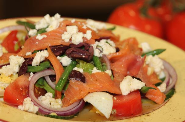 Image of Alaskan Smoked Salmon Nicoise Salad With Alouette Crumbled Feta, Foodista