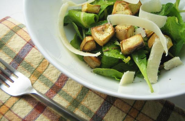 Image of Arugula Salad With Sweet Potato Croutons, Foodista