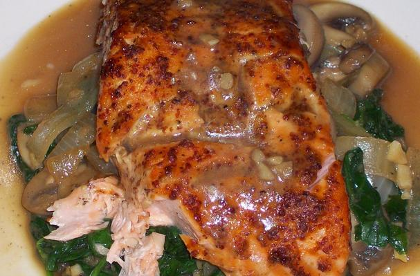 Image of Asian Honey Mustard Salmon On Spinach And Mushrooms, Foodista